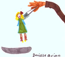 Drawing of a girl held up by giant hand and forceps.